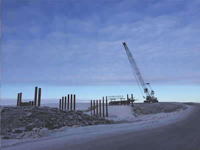 Inuvik to Tuktoyuktuk Highway construction by Formula Contractors.